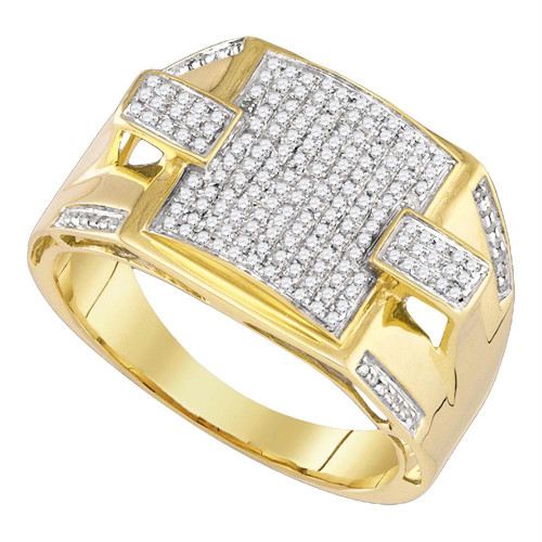 10kt Yellow Gold Mens Round Pave-set Diamond Square Cluster Ring 3/8 Cttw