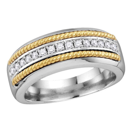 10kt White Gold Mens Round Pave-set Diamond Yellow-tone Rope Wedding Band 3/8 Cttw - 114028-8.5