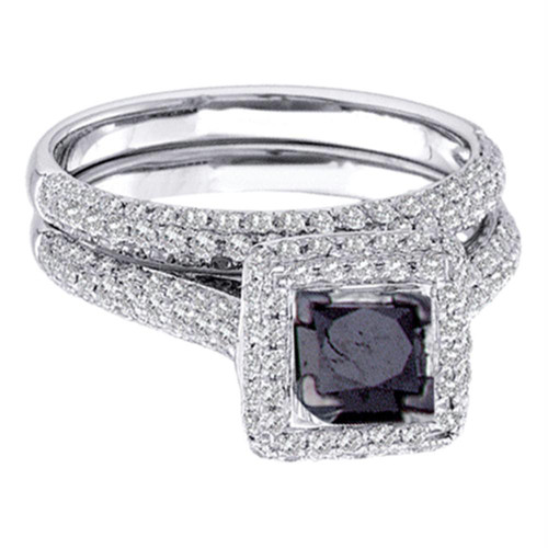 14kt White Gold Womens Princess Black Color Enhanced Diamond Bridal Wedding Engagement Ring Band Set 1-1/4 Cttw - 75645-5