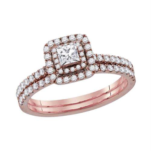 10kt Rose Gold Womens Princess Diamond Bridal Wedding Engagement Ring Band Set 3/4 Cttw