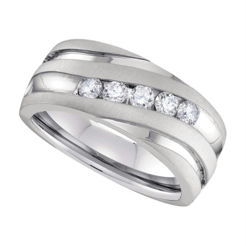 10k White Gold Mens Round Diamond Wedding Anniversary Band Ring 1.00 Cttw