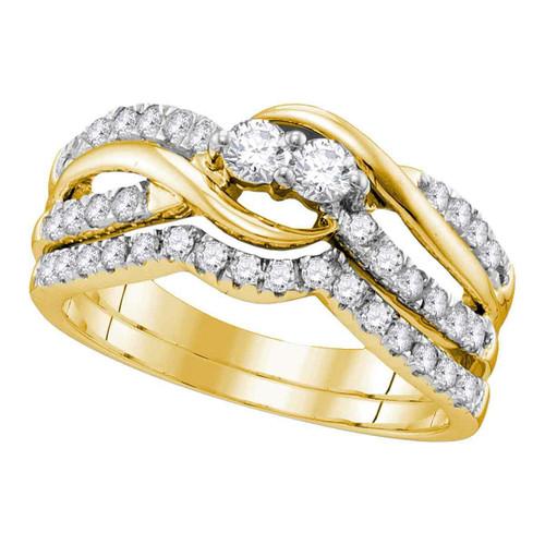 14kt Yellow Gold Womens Round Diamond 2-Stone Bridal Wedding Engagement Ring Band Set 3/4 Cttw