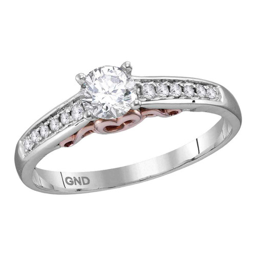 14kt White Gold Womens Round Diamond Solitaire Bridal Wedding Engagement Ring 1/2 Cttw - 113627-10.5