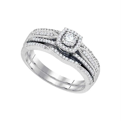 10k White Gold Womens Round Diamond Bridal Wedding Engagement Ring Band Set 3/8 Cttw