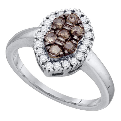 10k White Gold Womens Cognac-brown Color Enhanced Cluster Oval-shape Diamond Ring 1/2 Cttw