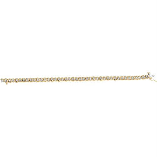 10kt Yellow Gold Womens Round Diamond Tennis Bracelet 1/2 Cttw