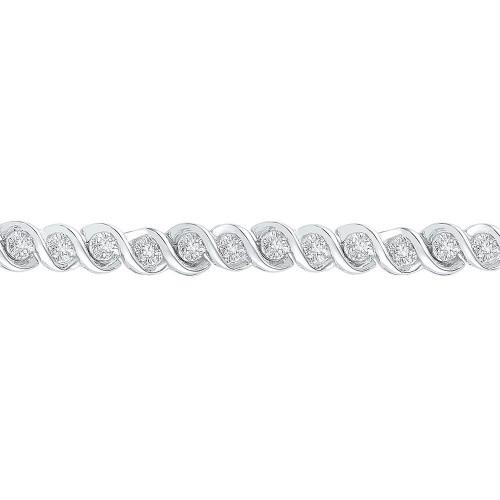 10kt White Gold Womens Round Diamond Tennis Bracelet 1/2 Cttw