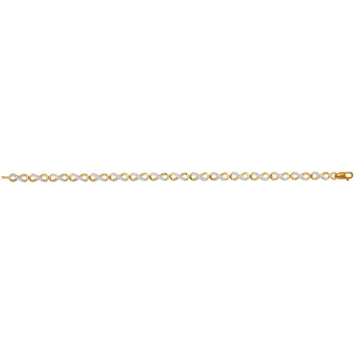 10kt Yellow Gold Womens Round Diamond Infinity Tennis Bracelet 1/4 Cttw