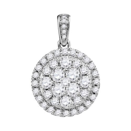 14kt White Gold Womens Round Diamond Cluster Pendant 1.00 Cttw