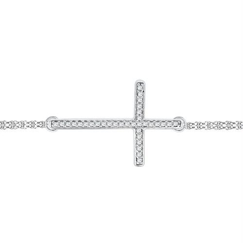 10kt White Gold Womens Round Diamond Sideways Cross Bracelet 1/10 Cttw