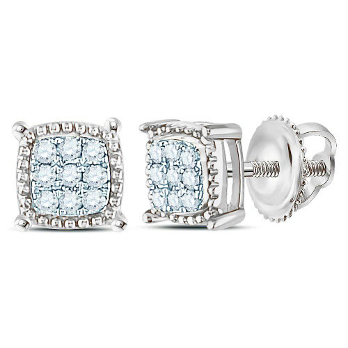 10kt White Gold Mens Round Diamond Square Milgrain Cluster Earrings 1/10 Cttw