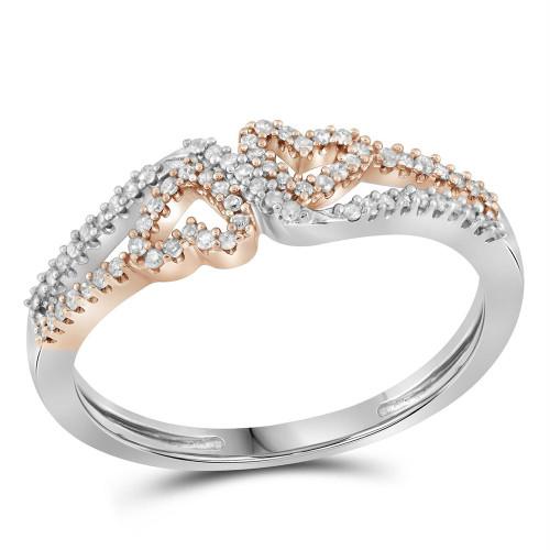 10kt White Gold Womens Round Diamond 2-tone Heart Love Ring 1/5 Cttw