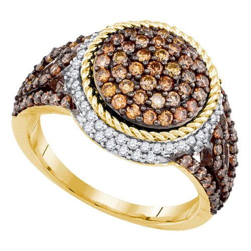 10kt Yellow Gold Womens Round Brown Color Enhanced Diamond Cluster Ring 1-1/5 Cttw