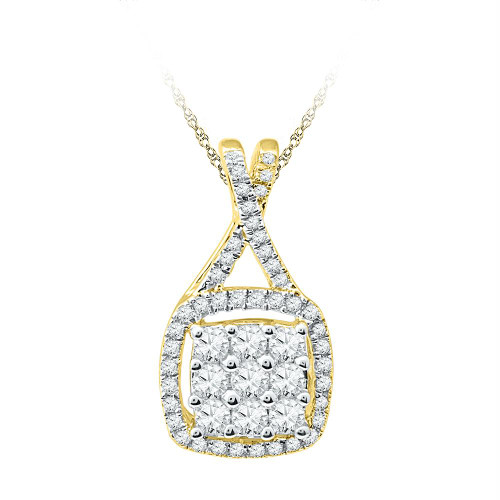 10kt Yellow Gold Womens Round Diamond Framed Square Cluster Pendant 1/2 Cttw