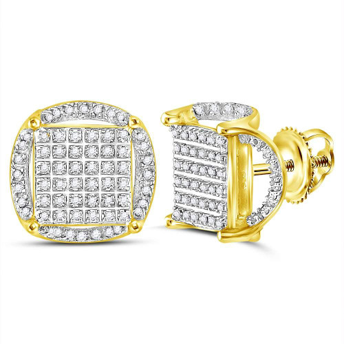 10kt Yellow Gold Mens Round Diamond Circle Cluster Earrings 3/8 Cttw