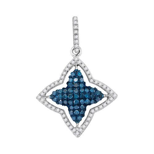 10kt White Gold Womens Round Blue Color Enhanced Diamond Star Frame Pendant 1/2 Cttw