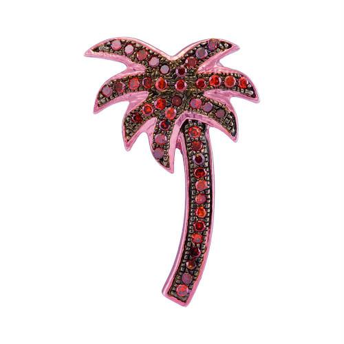 10kt Rose Gold Womens Round Red Color Enhanced Diamond Palm Tree Beach Pendant 1/4 Cttw