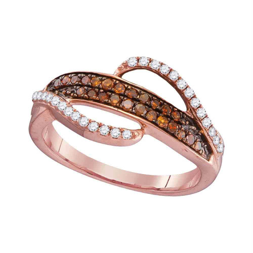 10kt Rose Gold Womens Round Red Color Enhanced Diamond Swirl Strand Band Ring 1/3 Cttw