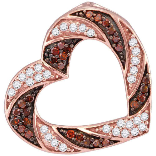 10kt Rose Gold Womens Round Red Color Enhanced Diamond Alternating Stripe Heart Outline Pendant 1/2 Cttw