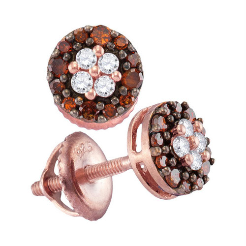 10kt Rose Gold Womens Round Red Color Enhanced Diamond Cluster Screwback Earrings 1/3 Cttw