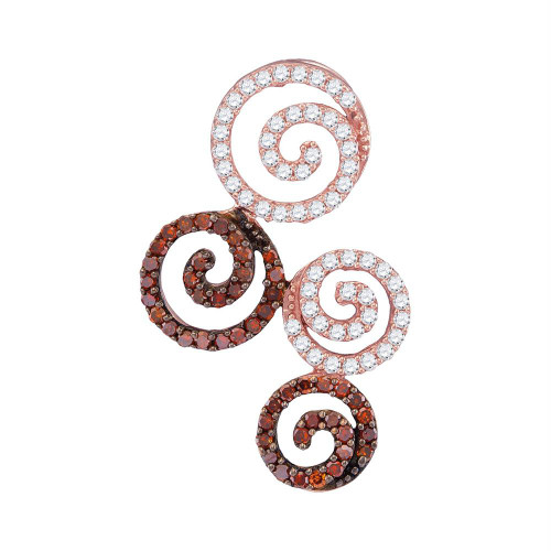 10kt Rose Gold Womens Round Red Color Enhanced Diamond Swirl Circle Pendant 5/8 Cttw