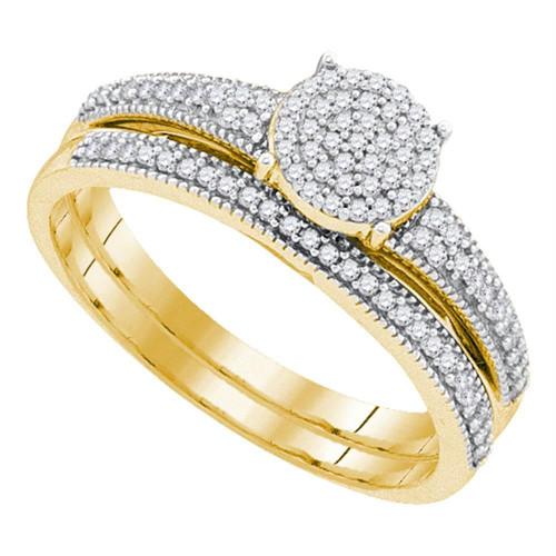 10k Yellow Gold Womens Diamond Cluster Bridal Wedding Engagement Ring Band Set 1/4 Cttw
