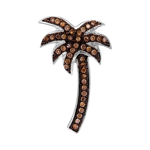 10k White Gold Cognac-brown Color Enhanced Round Diamond Palm Tree Nautical Pendant 1/4 Cttw