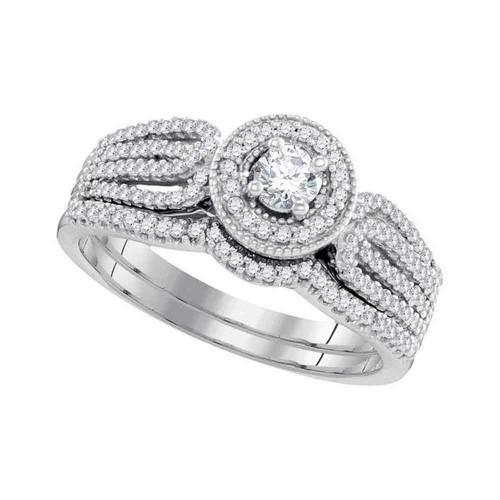 10k White Gold Round Diamond Bridal Wedding Engagement Ring Band Set 1/2 Cttw - 98610-9