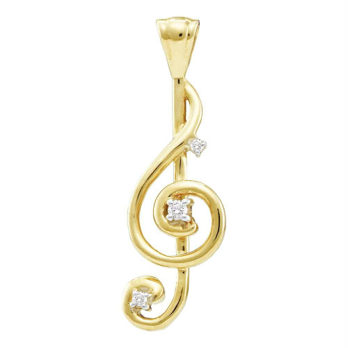 10kt Yellow Gold Womens Round Diamond Treble Clef Music Note Pendant 1/20 Cttw