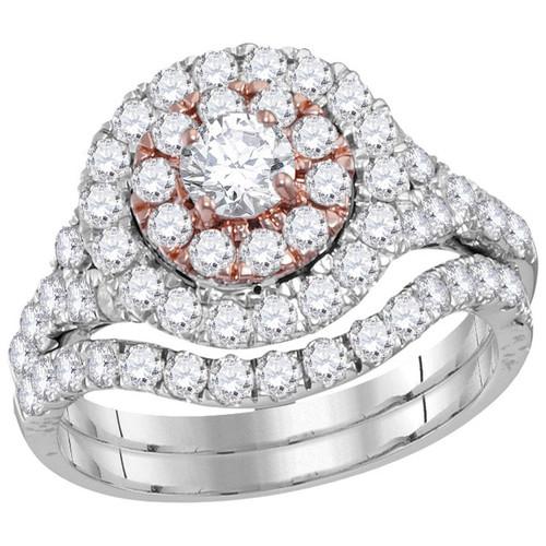 14kt White Gold Womens Round Diamond Double Halo Bridal Wedding Engagement Ring Band Set 2-1/3 Cttw