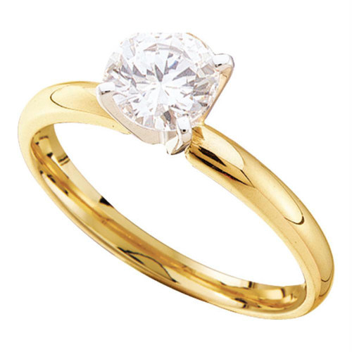 14kt Yellow Gold Womens Round Diamond Solitaire Bridal Wedding Engagement Ring 1/8 Cttw