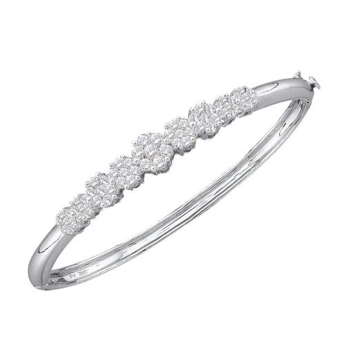 14kt White Gold Womens Round Diamond Bangle Bracelet 2.00 Cttw
