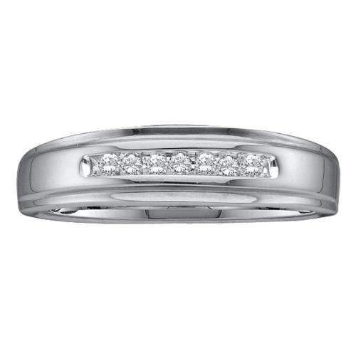 14kt White Gold Mens Round Diamond Channel-set Wedding Anniversary Band Ring 1/12 Cttw