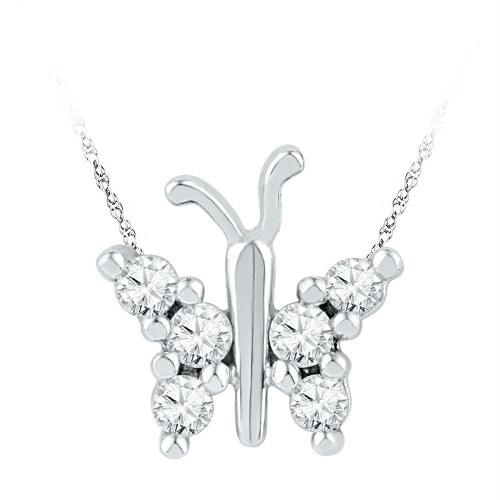 10k White Gold Womens Round Diamond Small Butterfly Bug Insect Unique Pendant 1/5 Cttw