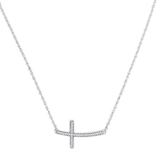 10kt White Gold Womens Round Diamond Horizontal Cross Pendant Necklace 1/10 Cttw