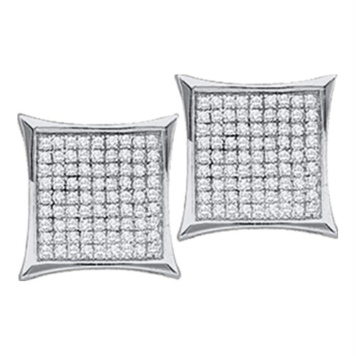 10kt White Gold Womens Round Diamond Square Kite Cluster Screwback Earrings 1/20 Cttw