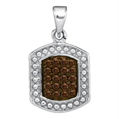 10kt White Gold Womens Round Cognac-brown Color Enhanced Diamond Cluster Tag Pendant 1/5 Cttw