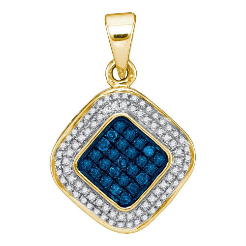 10kt Yellow Gold Womens Round Blue Color Enhanced Diamond Diagonal Square Cluster Pendant 1/4 Cttw