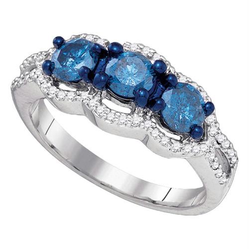10kt White Gold Womens Round Diamond 3-stone Bridal Wedding Engagement Ring 1-1/5 Cttw
