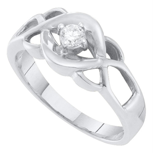 10kt White Gold Womens Round Diamond Solitaire Openwork Promise Bridal Ring 1/8 Cttw