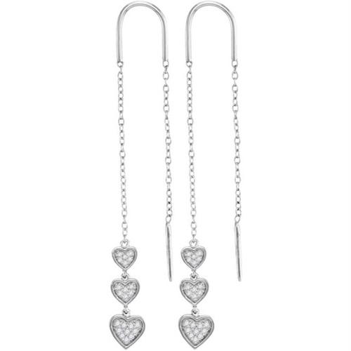 10kt White Gold Womens Round Diamond Triple Dangling Heart Threader Earrings 1/5 Cttw