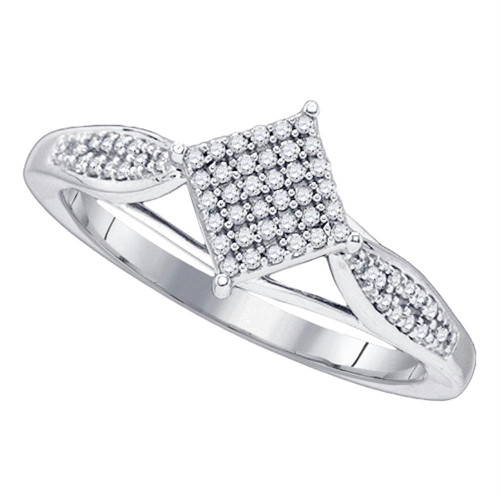 10kt White Gold Womens Round Diamond Diagonal Square Cluster Ring 1/5 Cttw