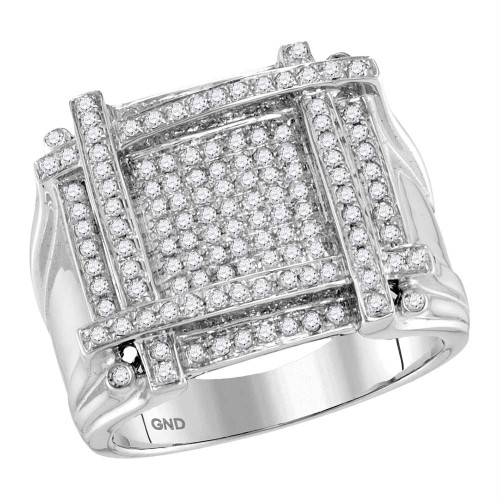 10kt White Gold Mens Round Diamond Square Cluster Ring 7/8 Cttw