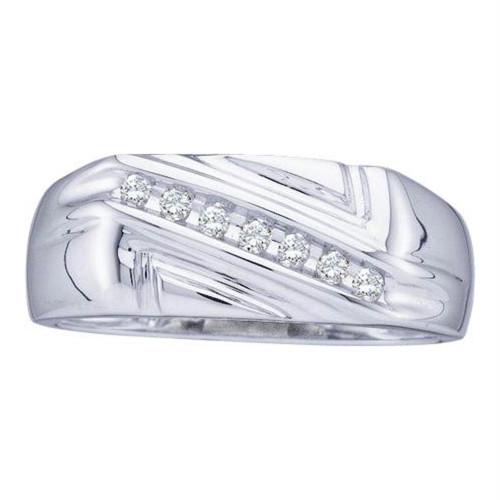 10kt White Gold Mens Round Diamond Diagonal Row Wedding Band Ring 1/8 Cttw