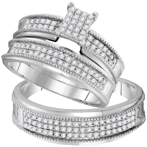 10kt White Gold His & Hers Round Diamond Cluster Matching Bridal Wedding Ring Band Set 3/4 Cttw - 104105-6.5