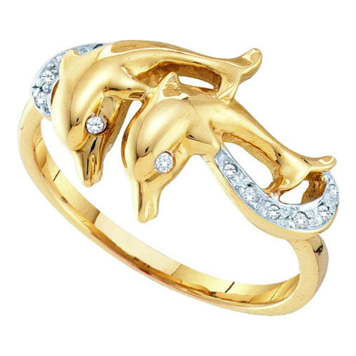 10kt Yellow Gold Womens Round Diamond Double Dolphin Accent Ring 1/20 Cttw