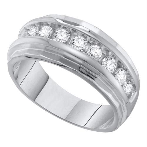 10kt White Gold Mens Round Diamond Ridged Edges Single Row Wedding Band Ring 1.00 Cttw