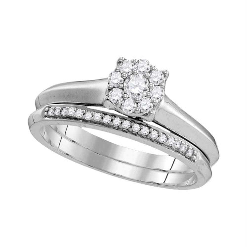 10k White Gold Womens Round Diamond Bridal Wedding Engagement Ring Band Set 1/3 Cttw - 109776-8.5