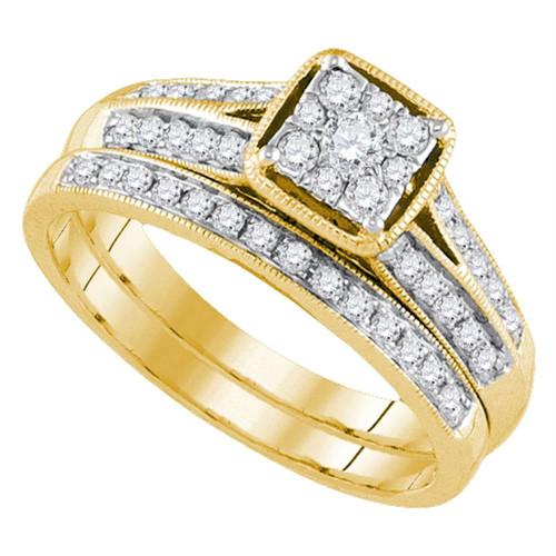 14kt Yellow Gold Womens Round Diamond Bridal Wedding Engagement Ring Band Set 1/2 Cttw - 92702-6.5