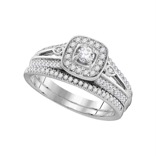 10k White Gold Womens Round Diamond Halo Bridal Wedding Engagement Ring Band Set 1/2 Cttw - 106409-7.5